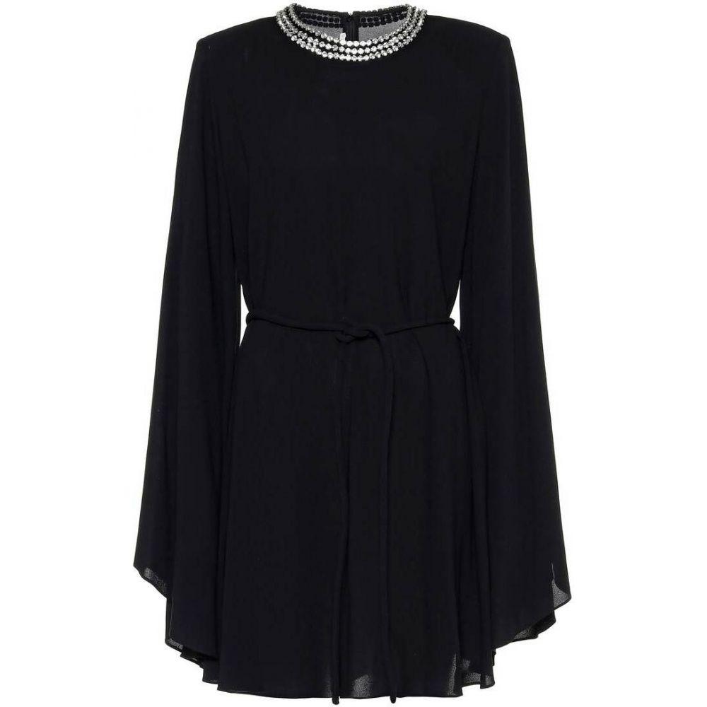 ステラ マッカートニー Stella McCartney レディース パーティードレス ワンピース・ドレス【Embellished crepe cape minidress】Black
