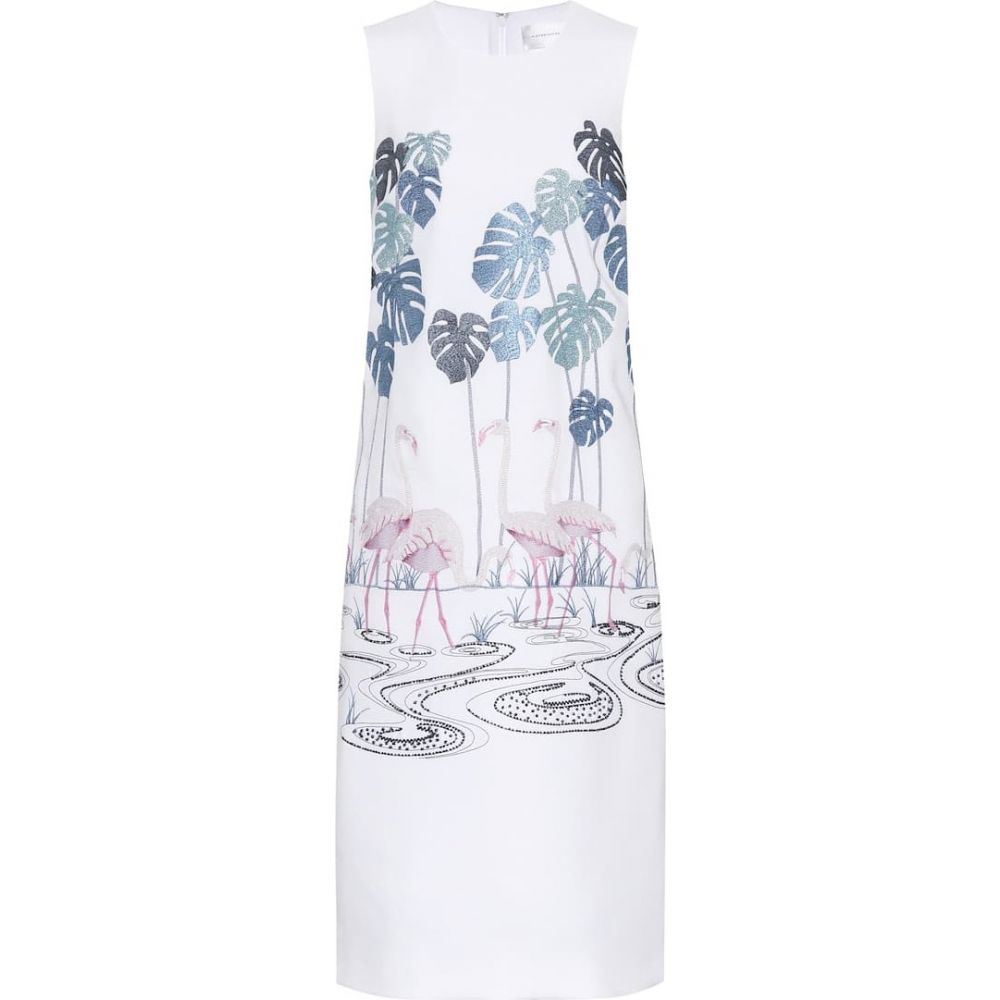 ヴィクトリア ベッカム Victoria Victoria Beckham レディース ワンピース ワンピース・ドレス【Embroidered crepe dress】White Multicolor Flamingo