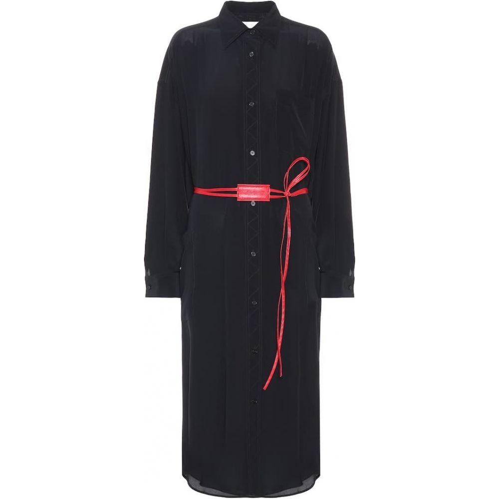 ヴィクトリア ベッカム Victoria Beckham レディース ワンピース シャツワンピース ワンピース・ドレス【Silk shirt dress】Navy/Red