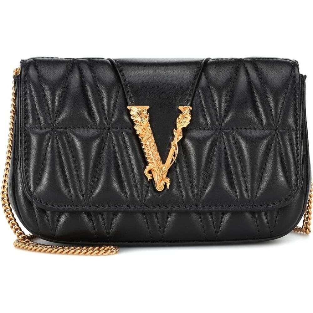 ヴェルサーチ Versace レディース ショルダーバッグ バッグ【Virtus quilted-leather shoulder bag】Black