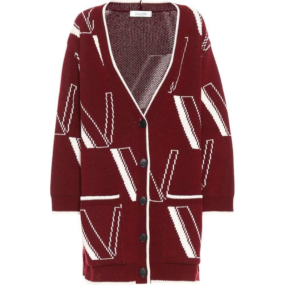 ヴァレンティノ Valentino レディース カーディガン トップス【Logo wool-blend cardigan】Red Wine
