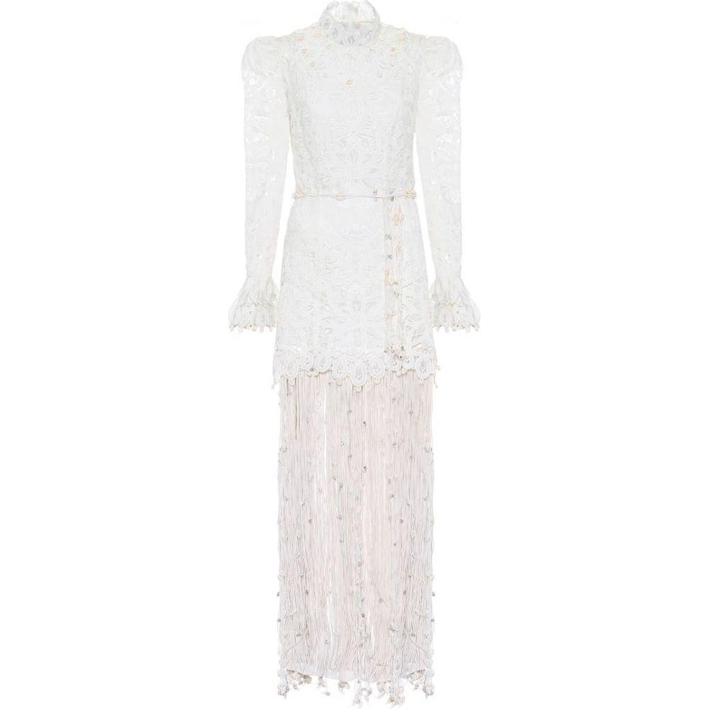 ジマーマン Zimmermann レディース パーティードレス ワンピース・ドレス【Wavelength embroidered silk gown】Ivory