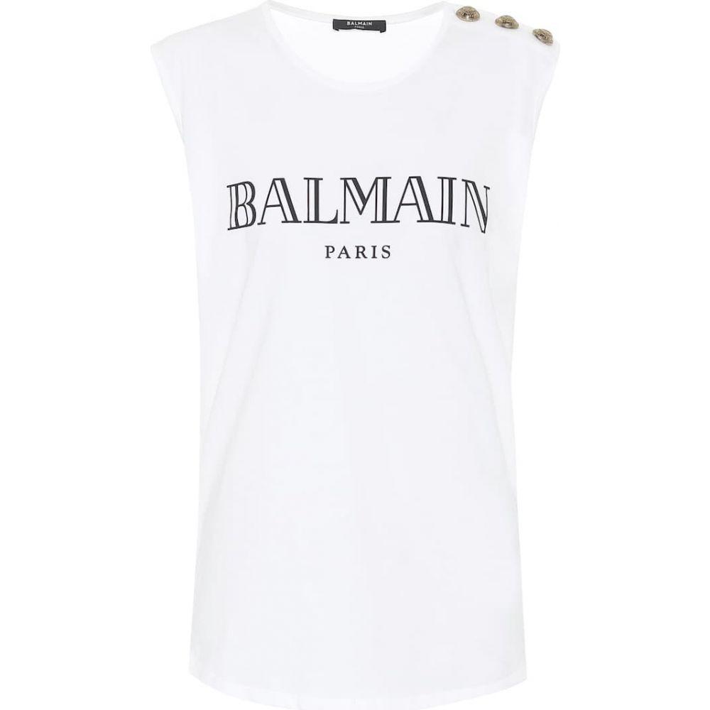 バルマン Balmain レディース タンクトップ トップス【Cotton tank top】Blanc/Noir