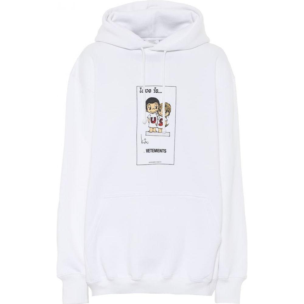 ヴェトモン Vetements レディース パーカー トップス【Printed cotton-blend hoodie】White