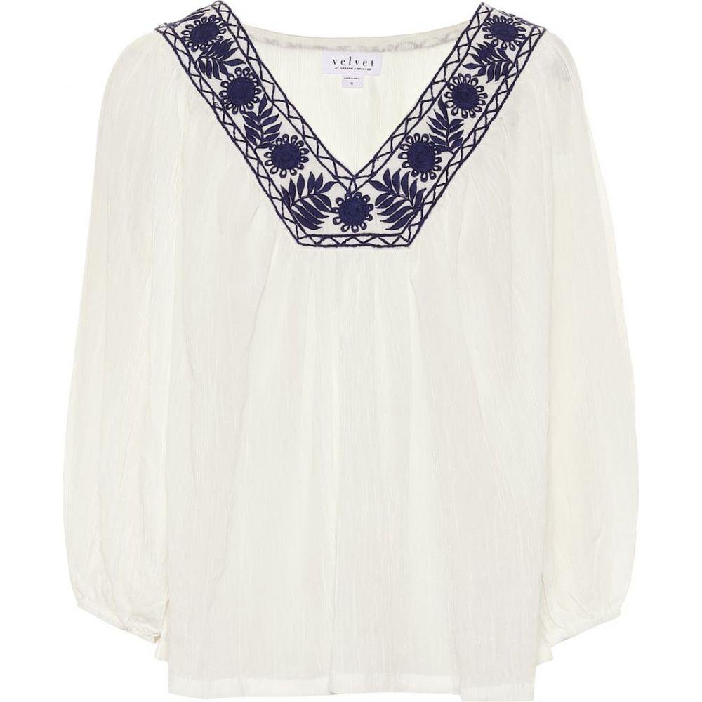 ベルベット グラハム&スペンサー Velvet レディース ブラウス・シャツ トップス【Zaylee modal and cotton blouse】White/Blue
