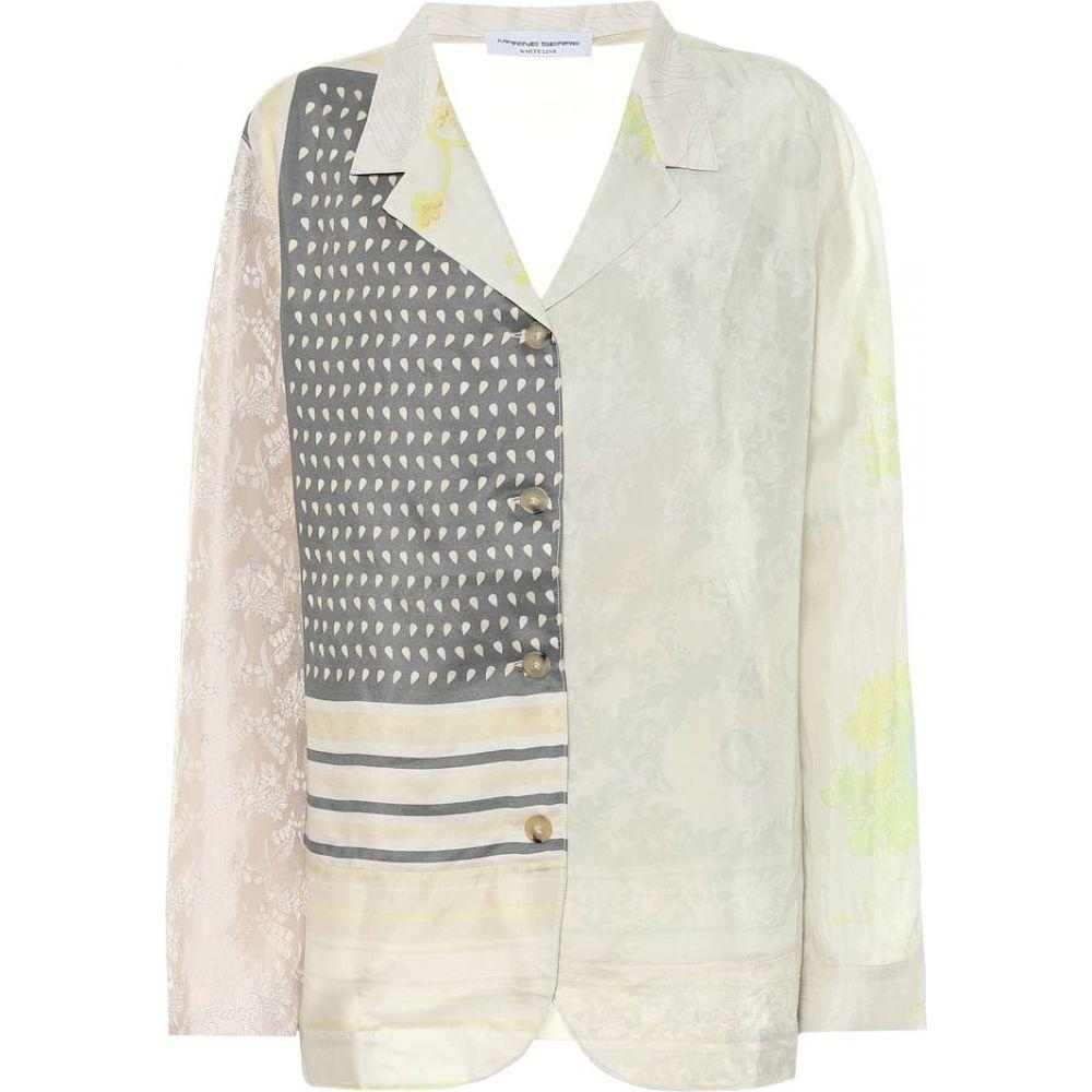 マリーン セル Marine Serre レディース パジャマ・トップのみ インナー・下着【Printed silk pajama top】Broken White with Print