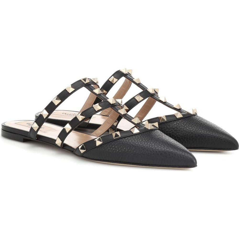 ヴァレンティノ Valentino レディース スリッパ シューズ 靴 Garavani Rockstud leather slippers Nero 引出物 夏祭り 結婚内祝 音楽会