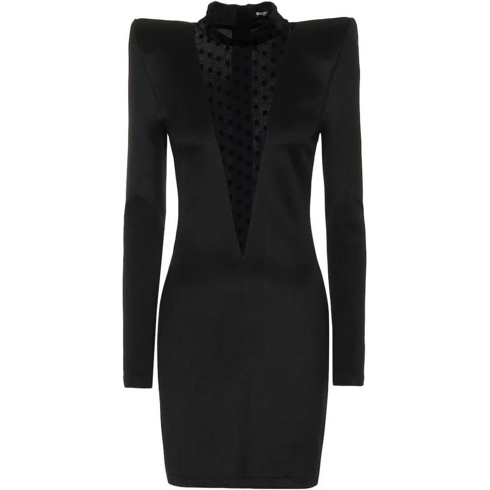 バルマン Balmain レディース ワンピース ワンピース・ドレス【Jersey and tulle dress】Noir