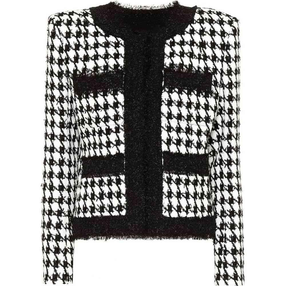 バルマン Balmain レディース スーツ・ジャケット アウター【Houndstooth cotton-blend tweed jacket】Noir/Blanc