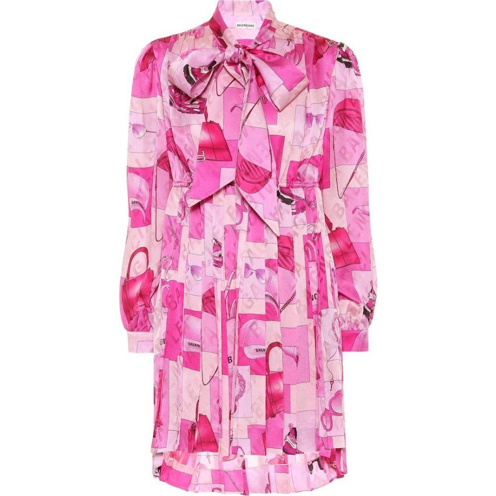 バレンシアガ Balenciaga レディース ワンピース ワンピース・ドレス【Printed silk tie-neck minidress】Pink