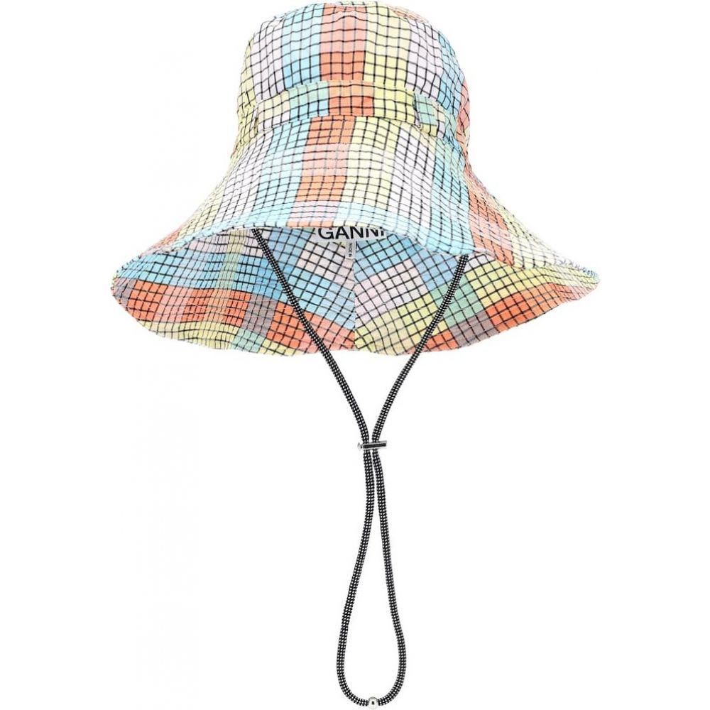 ガニー Ganni レディース 帽子 【Seersucker check cotton-blend hat】Multicolour