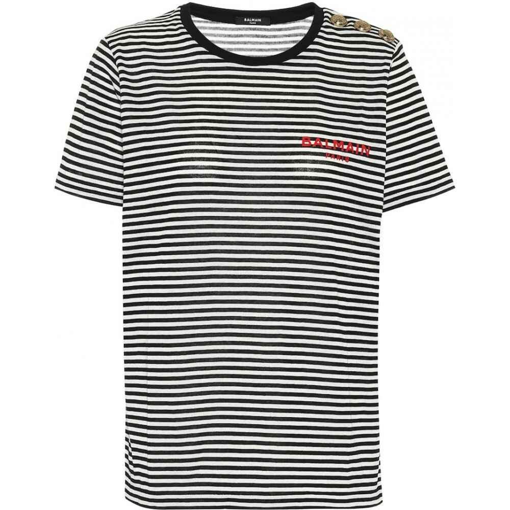バルマン Balmain レディース Tシャツ トップス【Striped cotton-jersey T-shirt】Noir/Rouge