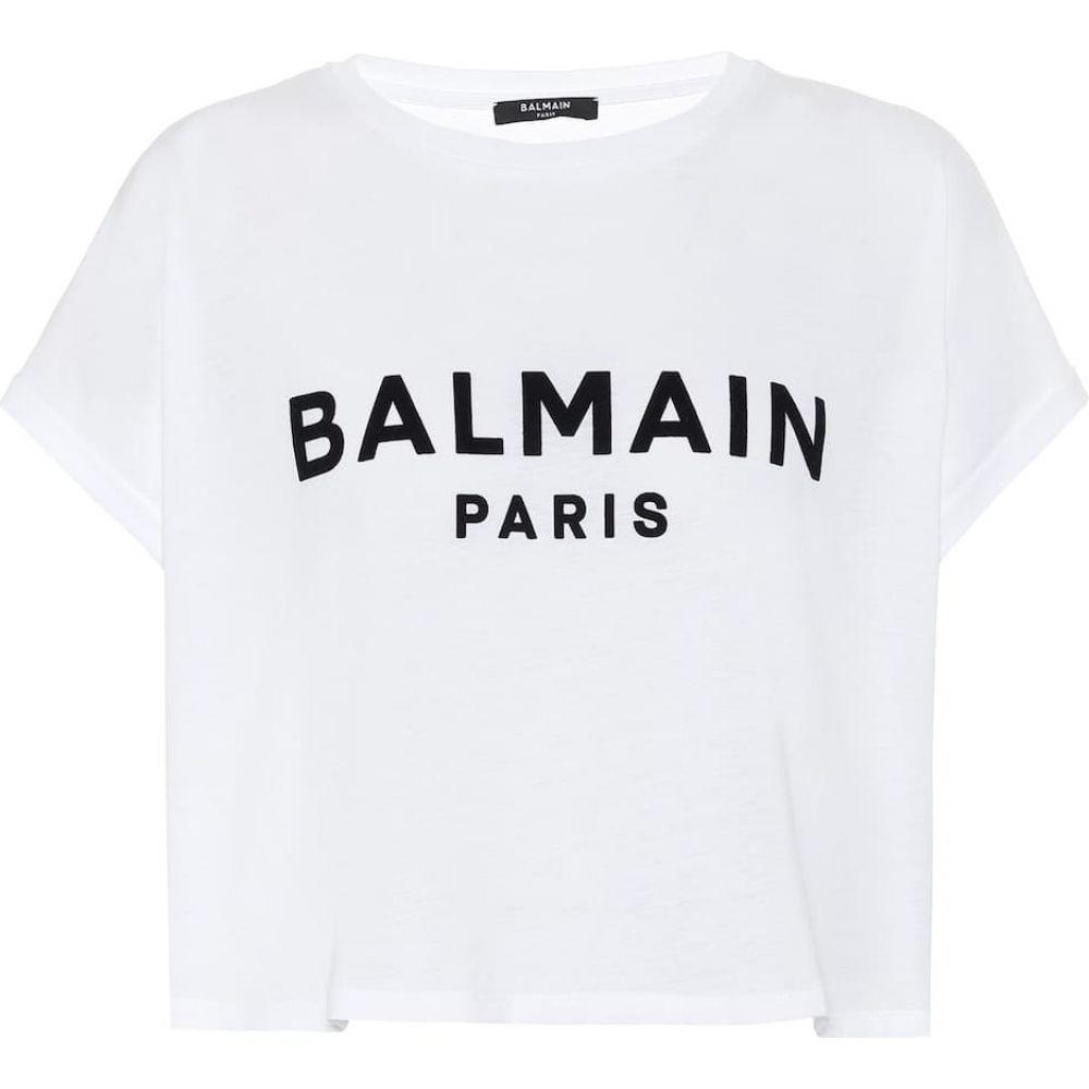 バルマン Balmain レディース Tシャツ トップス【Logo cotton-jersey T-shirt】Blanc/Noir
