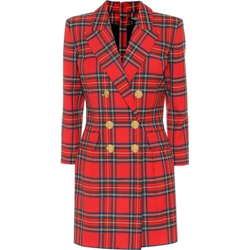 バルマン Balmain レディース ワンピース ワンピース・ドレス【Checked stretch-wool minidress】Rouge/multico