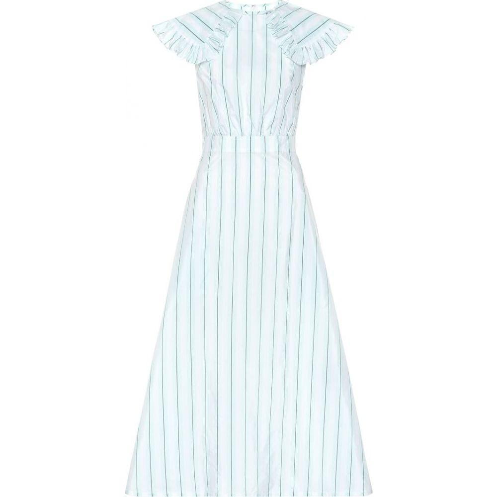 カルバンクライン Calvin Klein 205W39NYC レディース ワンピース ワンピース・ドレス【Striped cotton and silk dress】White Vert D Eau Black