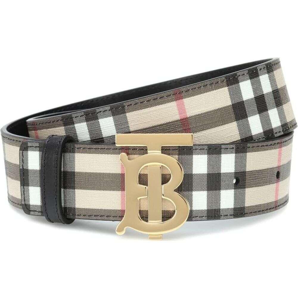 バーバリー Burberry レディース ベルト 【TB Check leather-trimmed belt】archive beige