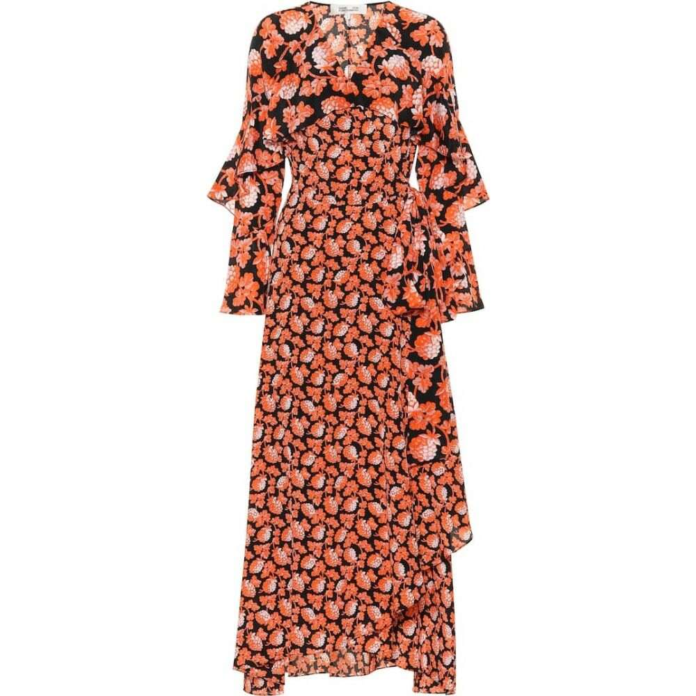 ダイアン フォン ファステンバーグ Diane von Furstenberg レディース ワンピース ラップドレス ワンピース・ドレス【Alice floral silk wrap dress】Berries Black