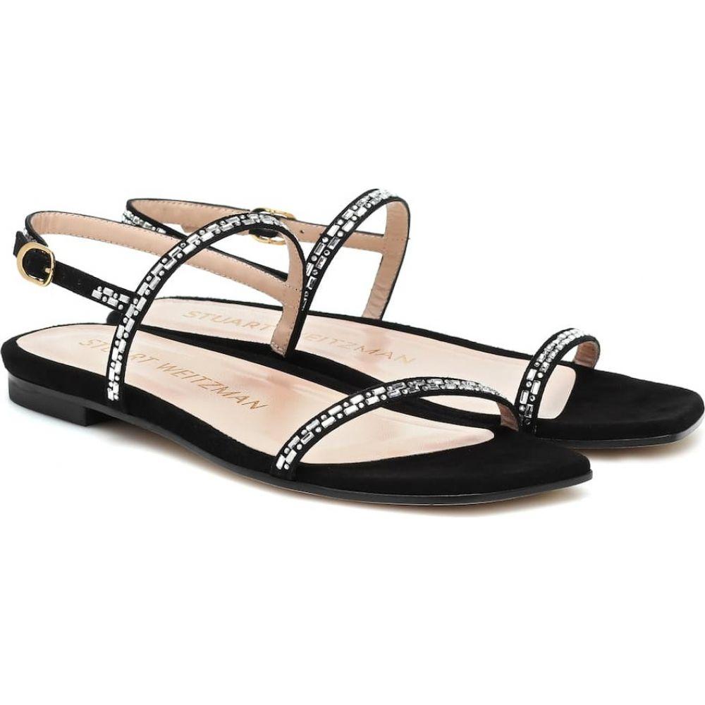 スチュアート ワイツマン Stuart Weitzman レディース サンダル・ミュール シューズ・靴【Samarra embellished suede sandals】Black