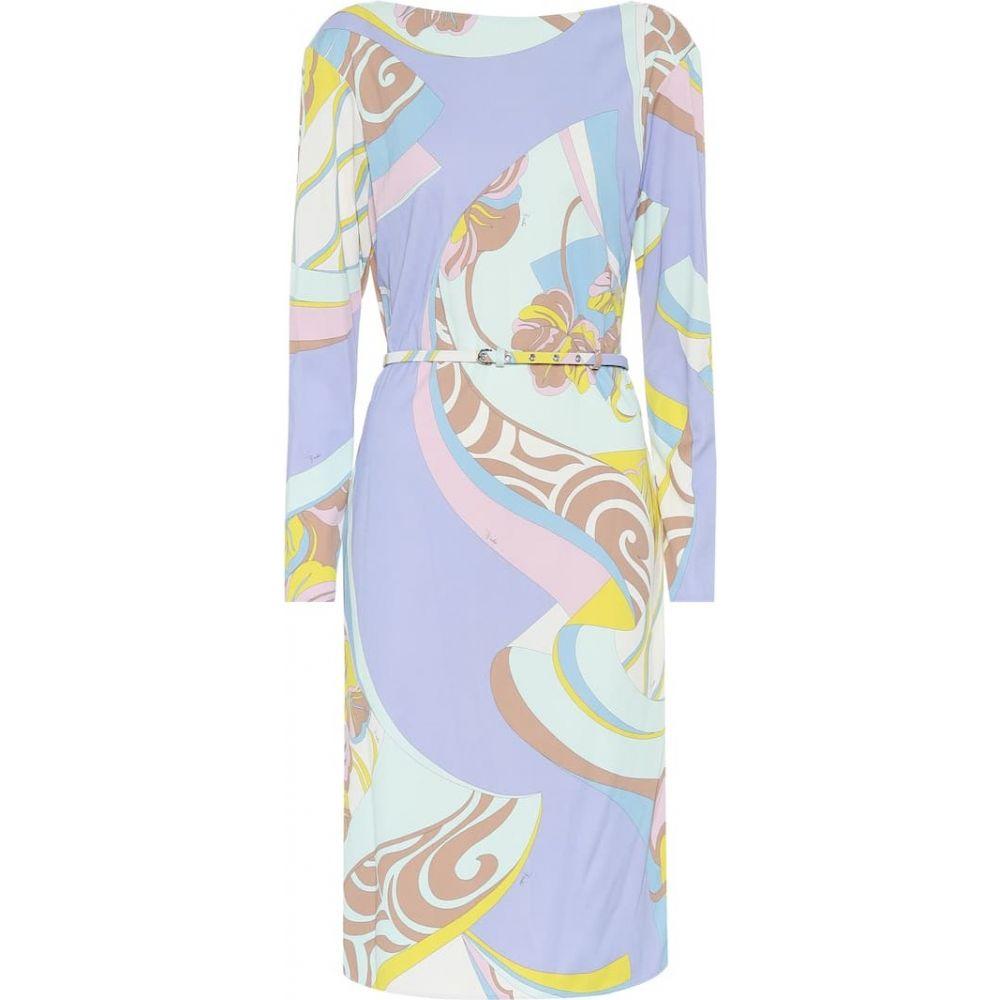 エミリオ プッチ Emilio Pucci レディース ワンピース ワンピース・ドレス【Printed silk-blend dress】Giallo/Aqua