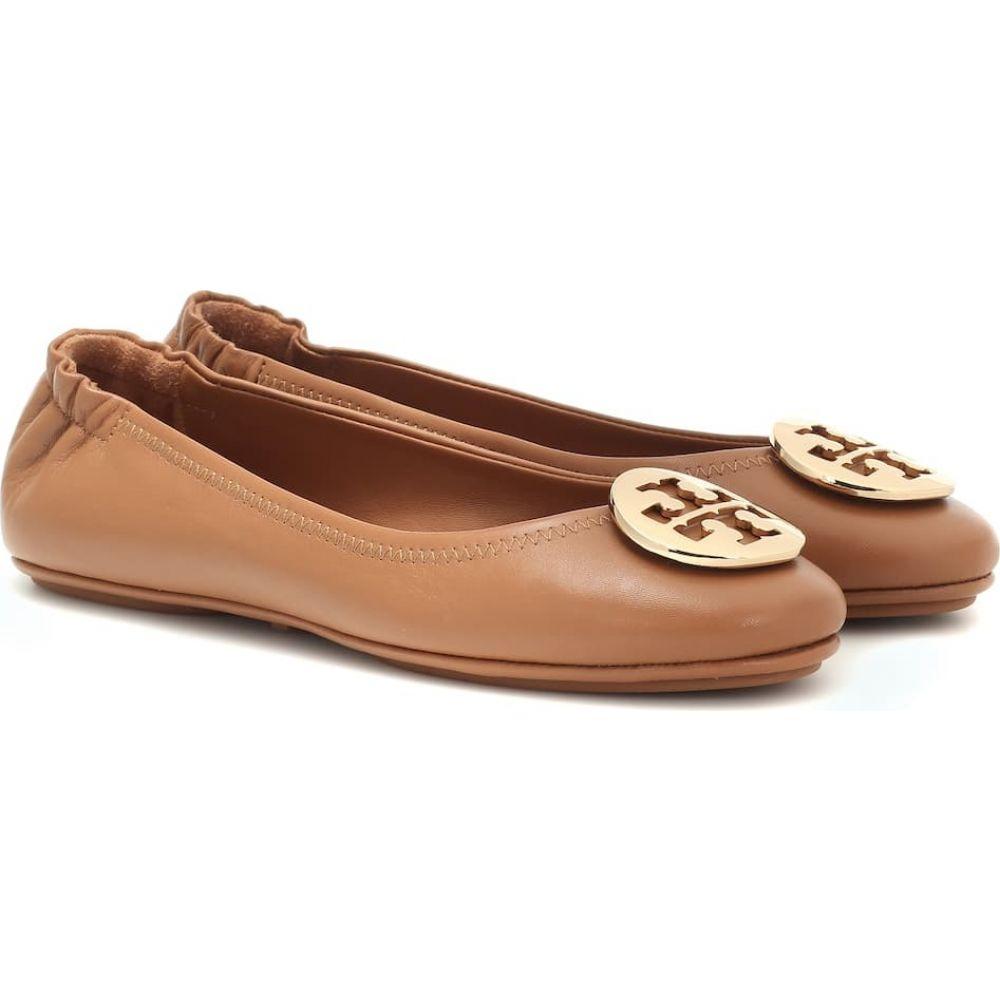 トリー バーチ Tory Burch レディース スリッポン・フラット シューズ・靴【Minnie Travel leather ballet flats】Royal Tan/Gold