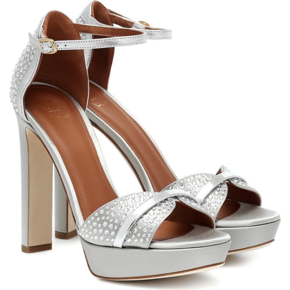 マローンスリアーズ Malone Souliers レディース サンダル・ミュール シューズ・靴【Miranda 125 satin platform sandals】Silver