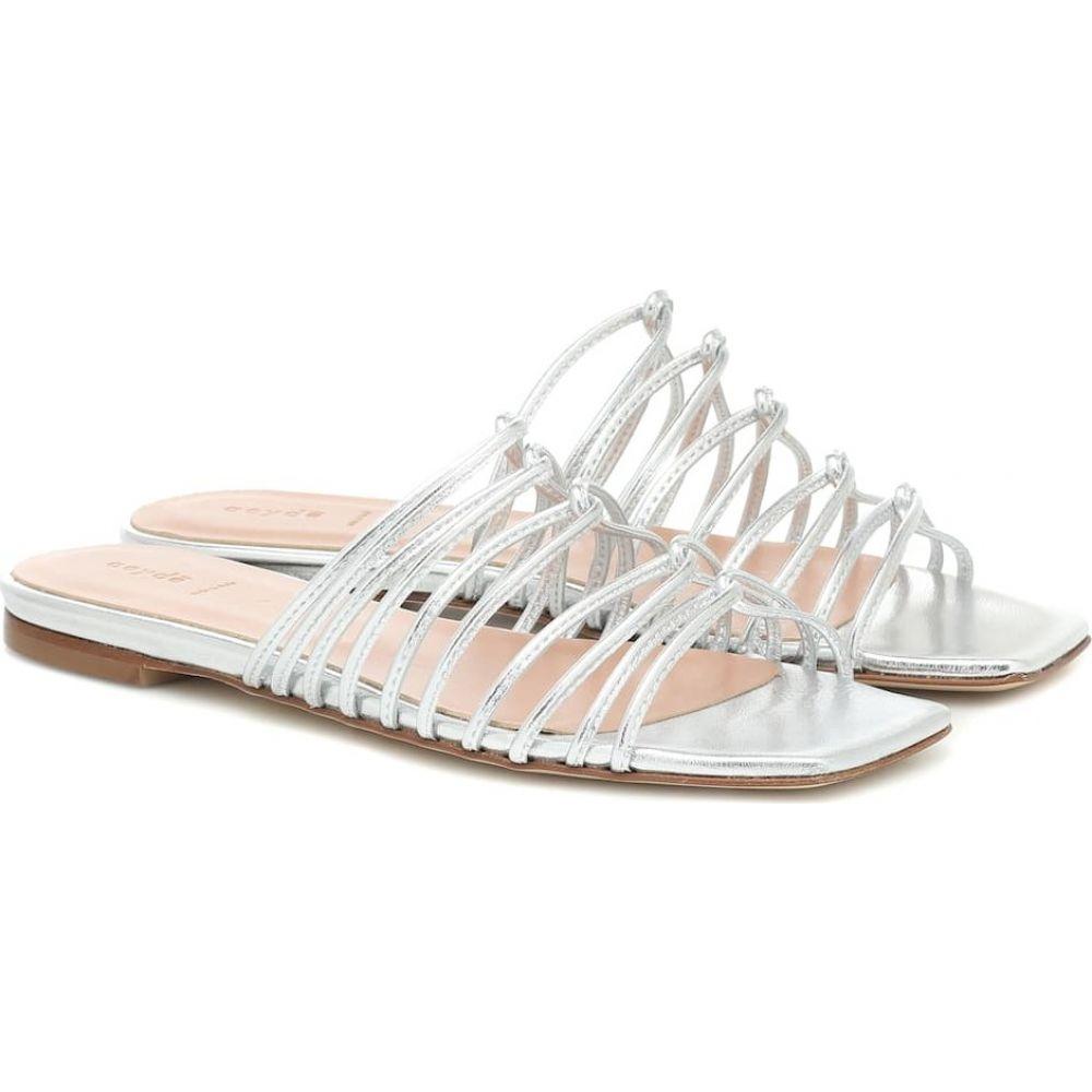アイデ Aeyde レディース サンダル・ミュール シューズ・靴【Natasha metallic leather sandals】Laminated Silver