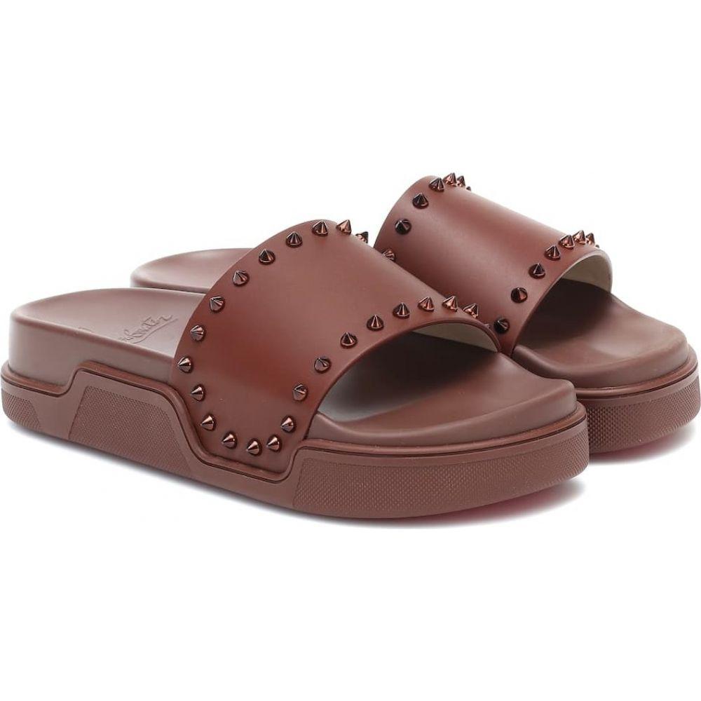 クリスチャン ルブタン Christian Louboutin レディース サンダル・ミュール シューズ・靴【Pool Stud leather slides】Nude 6 Metal Nude