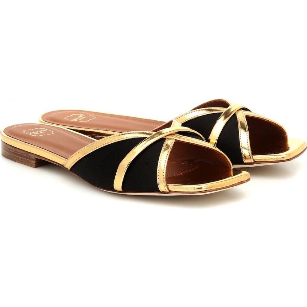 マローンスリアーズ Malone Souliers レディース サンダル・ミュール シューズ・靴【Perla leather-trimmed satin sandals】Black/Gold