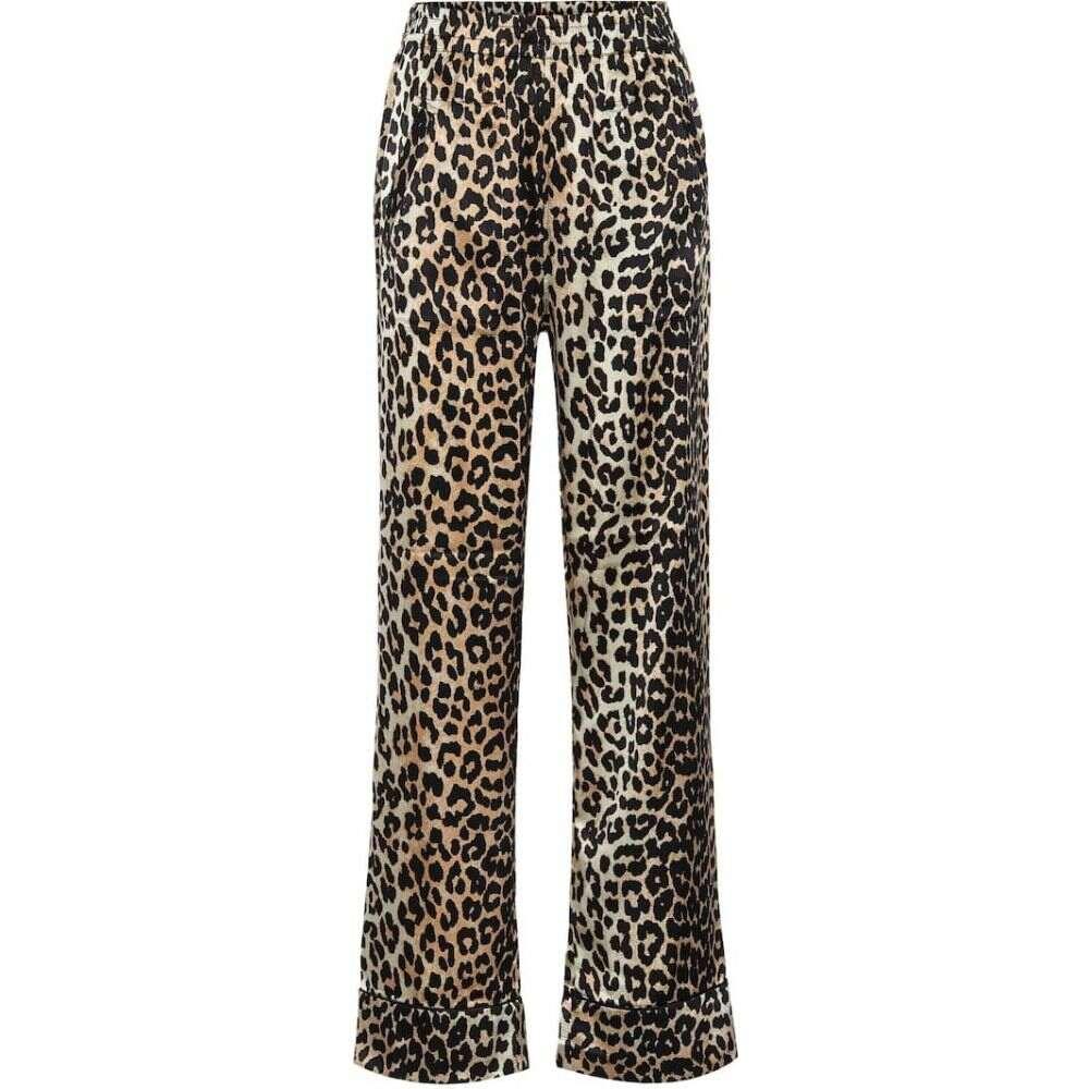 ガニー Ganni レディース パジャマ・ボトムのみ インナー・下着【Leopard-print stretch silk-satin pajama pants】Leopard