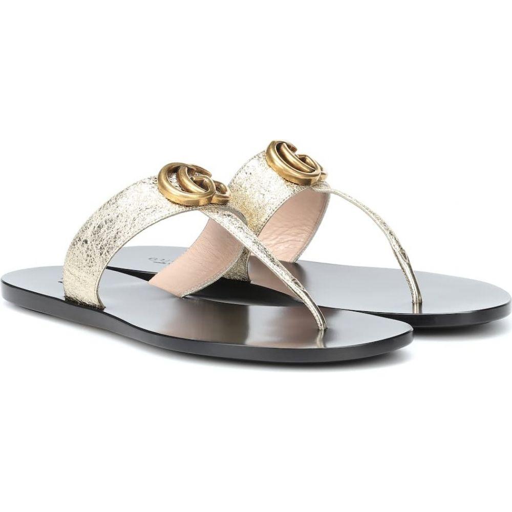 【別倉庫からの配送】 グッチ Gucci レディース サンダル・ミュール シューズ・靴【Marmont leather thong sandals】Platino Platino, なかよし屋 小豆島の美味見つけた 1fc18bab