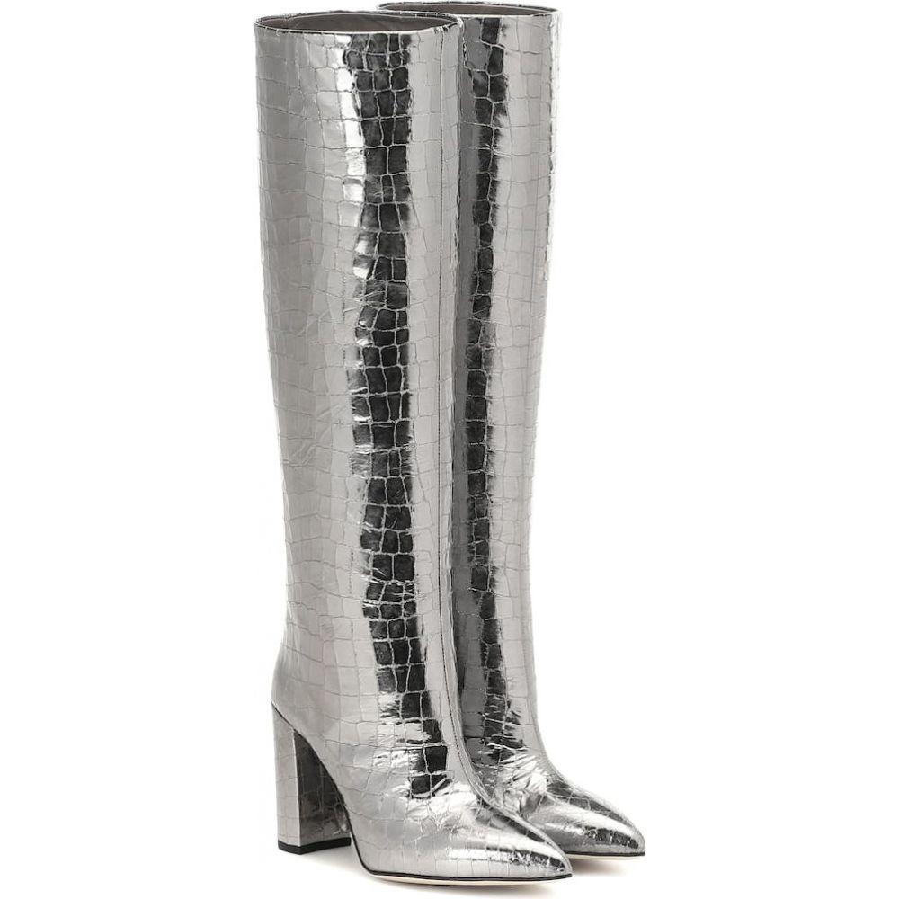 パリ テキサス Paris Texas レディース ブーツ シューズ・靴【Metallic croc-effect knee-high boots】Gunmetal