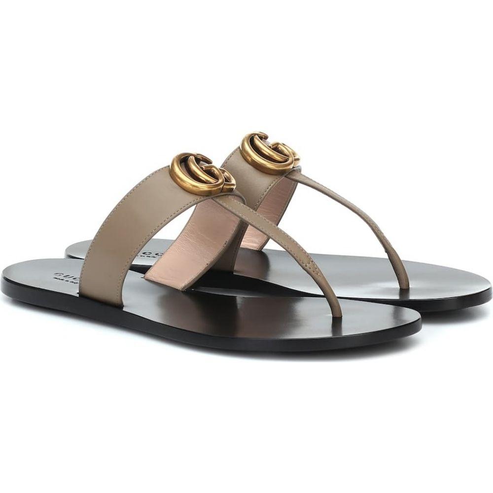 グッチ Gucci レディース サンダル・ミュール シューズ・靴【Marmont leather thong sandals】Mud