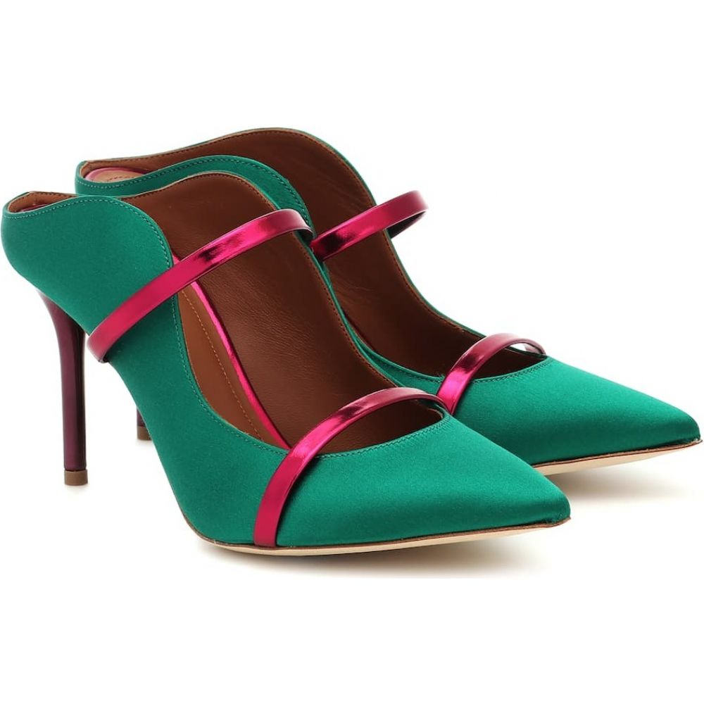 マローンスリアーズ Malone Souliers レディース パンプス シューズ・靴【Maureen 85 satin mules】Emerald/Raspberry