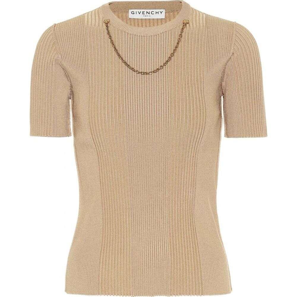 ジバンシー Givenchy レディース トップス 【Embellished rib-knit top】Beige Camel