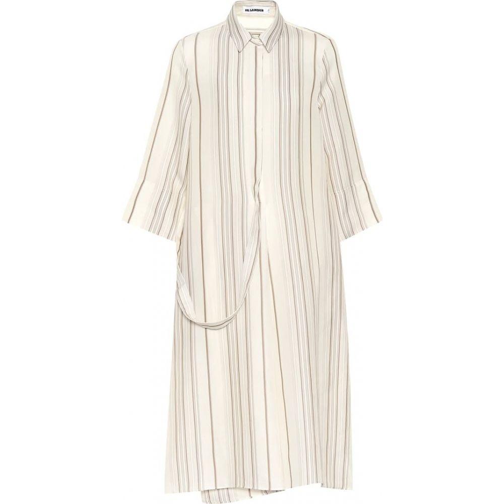 ジル サンダー Jil Sander レディース ワンピース ミドル丈 ワンピース・ドレス【Striped midi dress】Open White