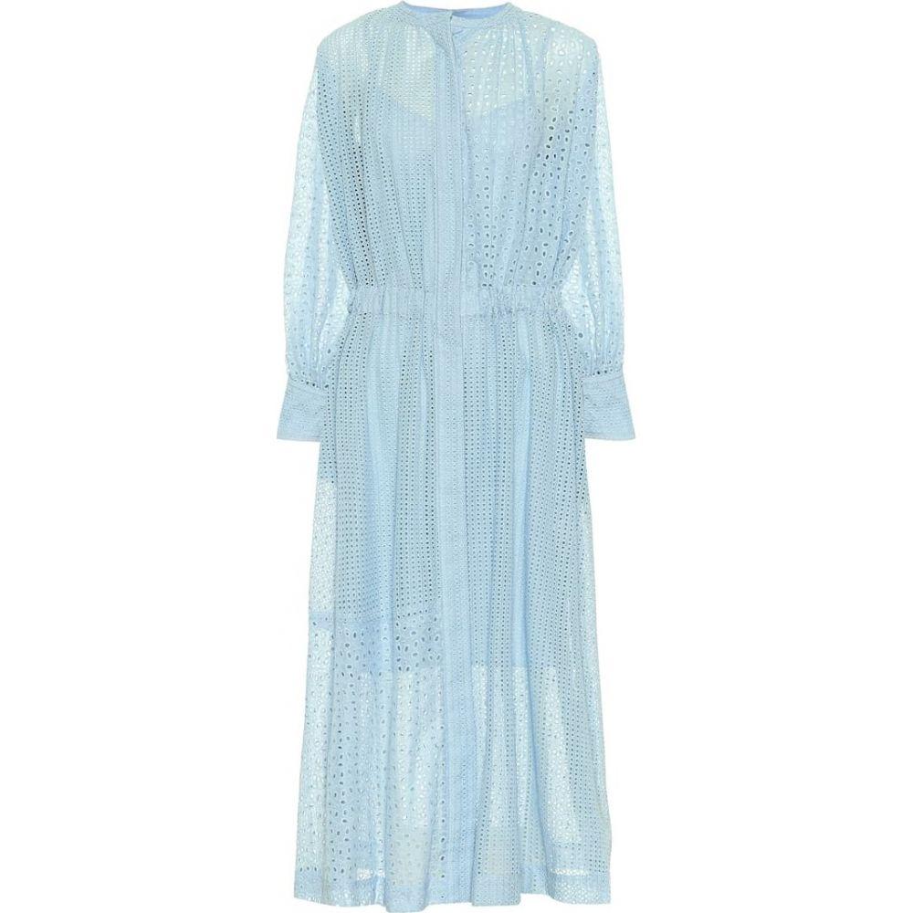 ジョゼフ Joseph レディース ワンピース ミドル丈 ワンピース・ドレス【Rafale cotton-blend midi dress】blue