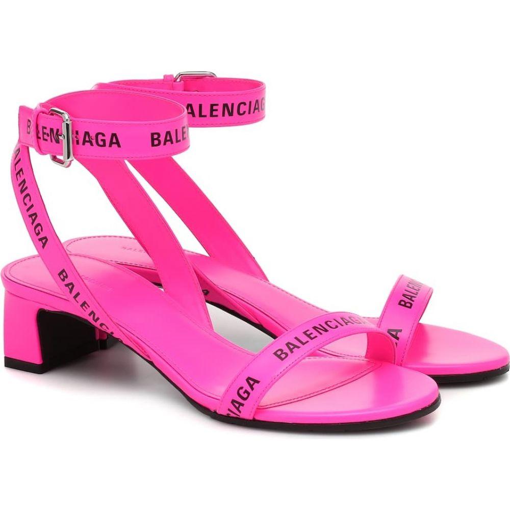 バレンシアガ Balenciaga レディース サンダル・ミュール シューズ・靴【Logo leather sandals】Neon Pink/Black