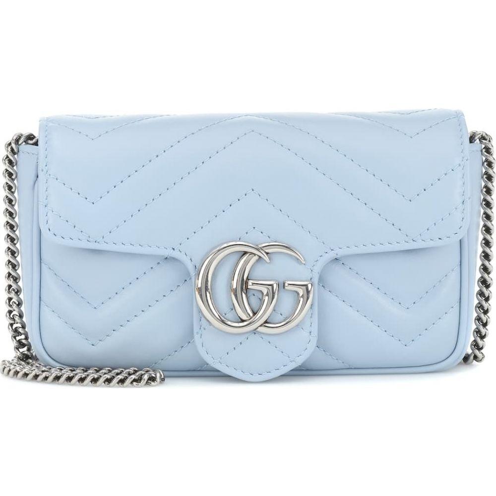 グッチ Gucci レディース ショルダーバッグ バッグ【GG Marmont Super Mini leather shoulder bag】Porc/ Light Blue