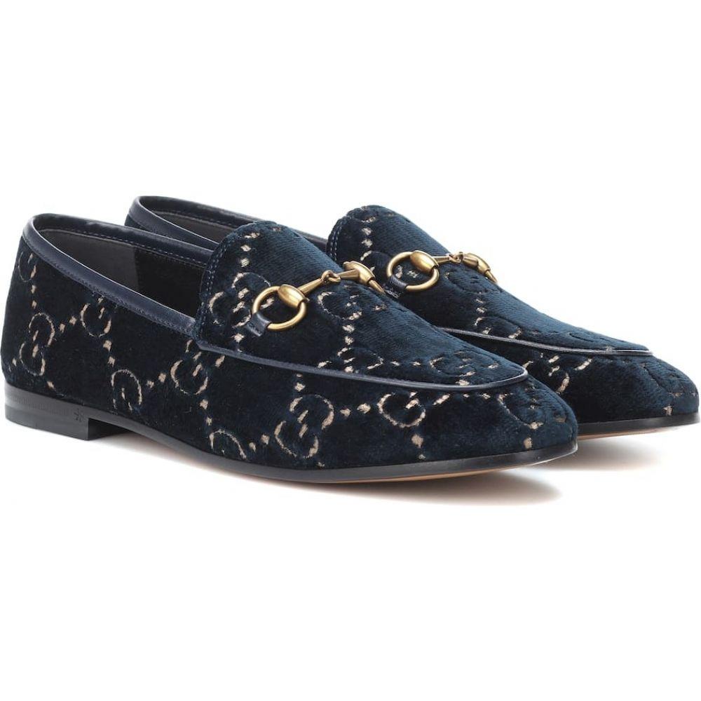 グッチ Gucci レディース ローファー・オックスフォード シューズ・靴【Jordaan GG velvet loafers】Blue/Beige/Blu