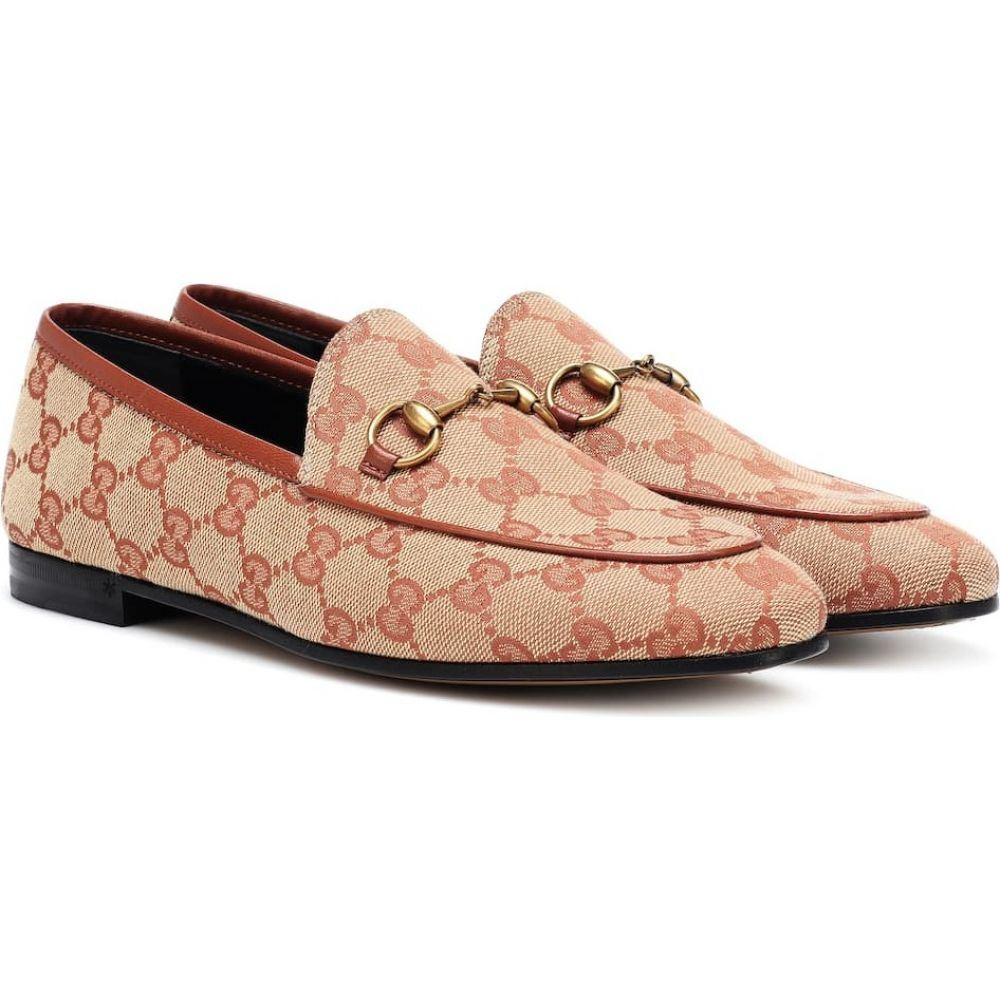 グッチ Gucci レディース ローファー・オックスフォード シューズ・靴【Jordaan GG canvas loafers】Beige Ruggine Rust