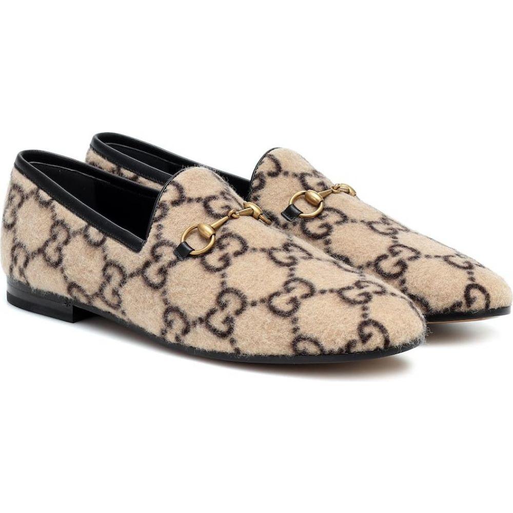 グッチ Gucci レディース ローファー・オックスフォード シューズ・靴【Jordaan GG wool loafers】Beige Ebony/Nero