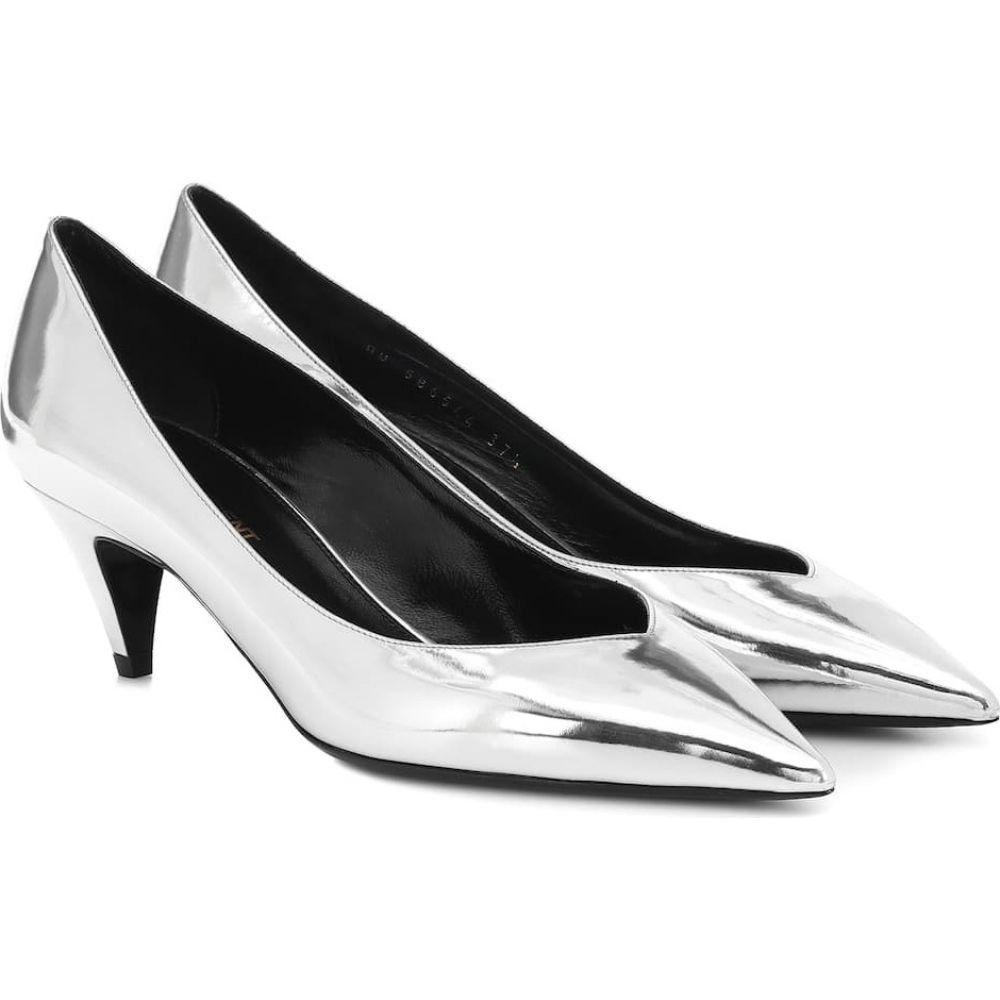 イヴ サンローラン Saint Laurent レディース パンプス シューズ・靴【Kiki 55 metallic leather pumps】Argent