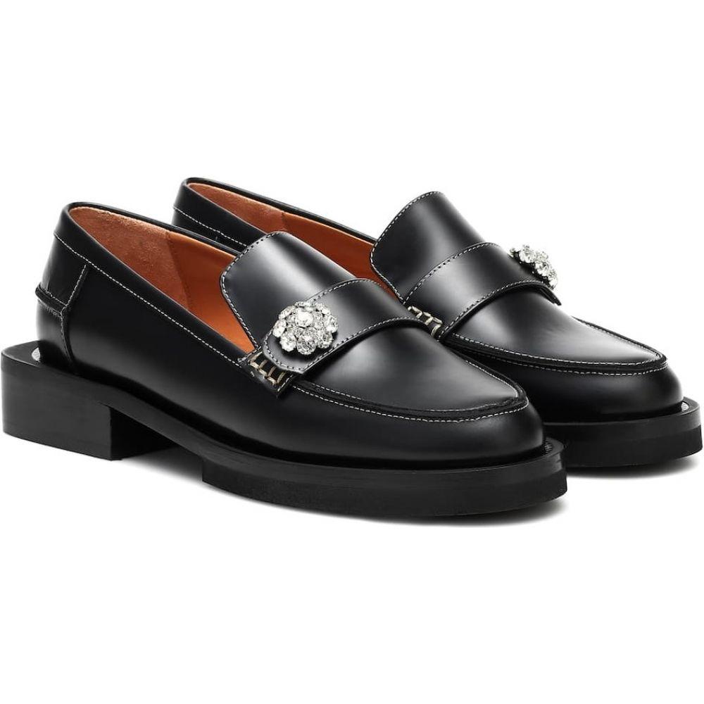 ガニー Ganni レディース ローファー・オックスフォード シューズ・靴【Jewel leather loafers】Black