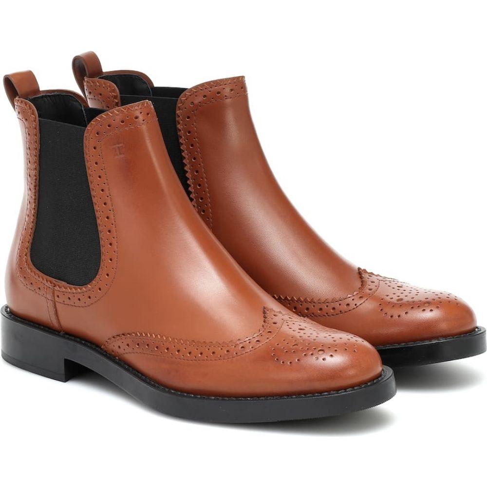 トッズ Tod's レディース ブーツ ショートブーツ シューズ・靴【Leather ankle boots】Brandy Scuro