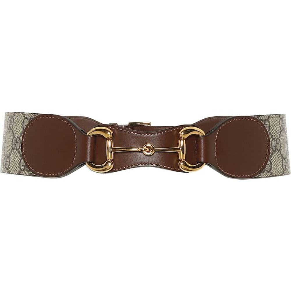 グッチ Gucci レディース ベルト 【horsebit leather and canvas belt】Brown