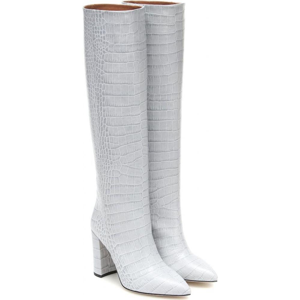 leather Texas パリ シューズ・靴【croc-effect レディース knee-high テキサス ブーツ Paris boots】Grigio