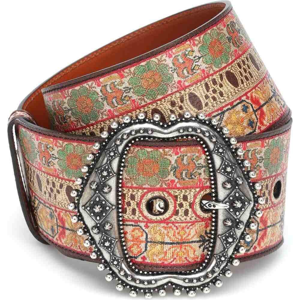 エトロ Etro レディース ベルト 【embroidered leather belt】Multicolour