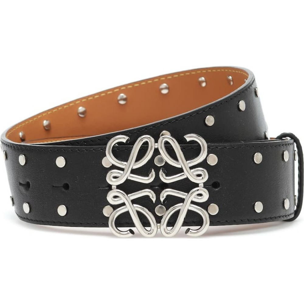 ロエベ Loewe レディース ベルト 【anagram studded leather belt】Black/Palladium