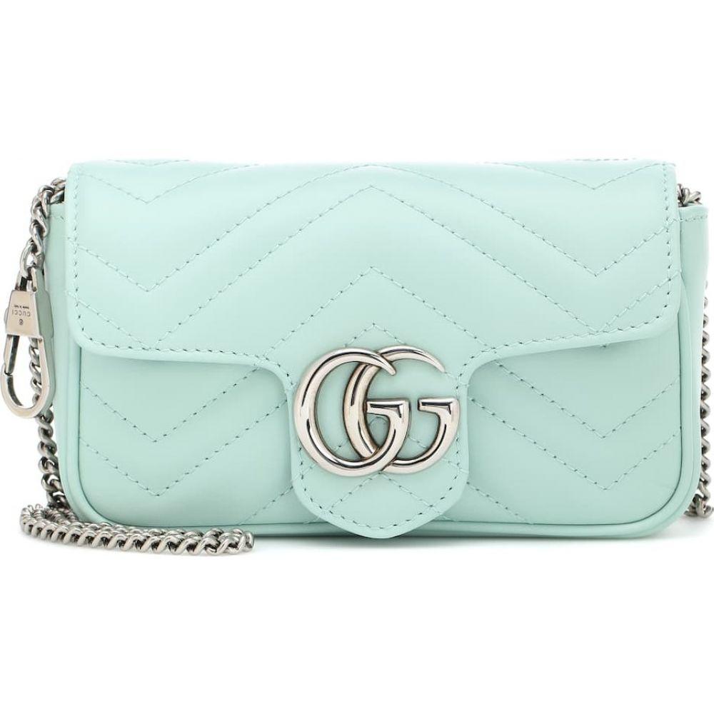 グッチ Gucci レディース ショルダーバッグ バッグ【gg marmont super mini leather shoulder bag】Water Green