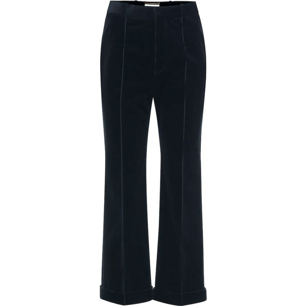 イヴ サンローラン Saint Laurent レディース クロップド ボトムス・パンツ【high-rise cropped corduroy pants】Black